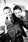 男孩愉快的二个年轻人 免版税图库摄影