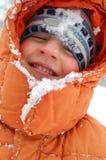 男孩愉快的纵向冬天 库存图片