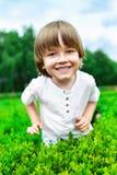 男孩愉快纵向微笑 免版税库存图片