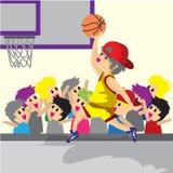 男孩戏剧篮球字符设计动画片艺术篮球 库存例证