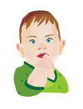 男孩手指他的被困住的嘴 免版税图库摄影