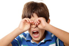 男孩打呵欠的年轻人 免版税图库摄影