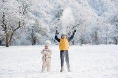 男孩投掷在头上的雪在女孩附近 免版税库存照片