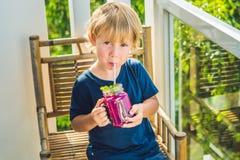 男孩拿着从龙果子的圆滑的人与一片薄荷的叶子和一根吸管 库存照片