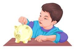 男孩挽救金钱传染媒介在存钱罐中 免版税图库摄影
