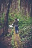 男孩探索的森林在维多利亚,不列颠哥伦比亚省 免版税库存照片