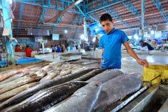 男孩推销员显示鲜鱼在室内鱼市上 库存照片