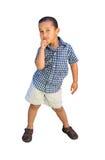 男孩摆在的一点 免版税库存照片
