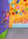 男孩攀登墙壁 免版税库存图片