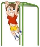 男孩攀登猴子栏杆 库存照片