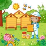 男孩收集蜂蜜 皇族释放例证