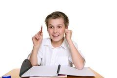 男孩明亮的愉快的学校 免版税图库摄影
