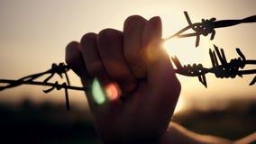 男孩是在铁丝网后的日落 拿着导线的手 移民概念 一个孩子的剪影在a后的 影视素材