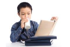 年轻男孩有一个杯子牛奶阅读书 免版税库存图片