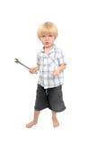 男孩查出的大使用的射击扳手年轻人 库存图片