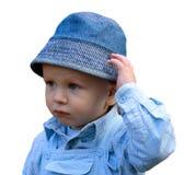 男孩查出空白的一点 免版税库存图片
