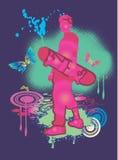 男孩桃红色滑板 免版税库存照片