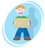 男孩框架微笑的文本 免版税库存照片