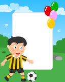 男孩框架照片足球 皇族释放例证