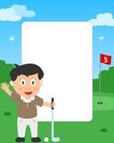 男孩框架高尔夫球照片 库存例证