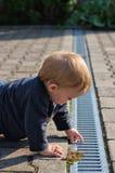 男孩检查的天沟庭院 库存图片