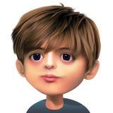 男孩棕色头发 免版税库存照片