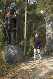 男孩森林残暴的人 图库摄影