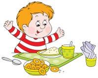 男孩正餐 图库摄影