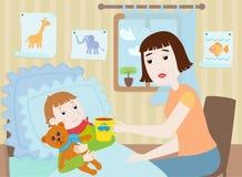 男孩母亲病残 向量例证