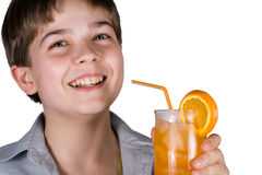 男孩汁液桔子 图库摄影