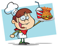 男孩汉堡乳酪汉堡阻止 图库摄影