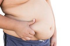 男孩油脂和孩子肥胖在被隔绝的白色 免版税库存照片