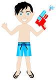 男孩泳装watergun 库存图片