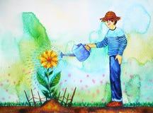 男孩浇灌向日葵,水彩绘画设计例证 库存照片