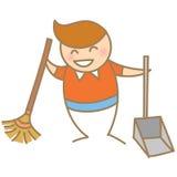 男孩清洁房子微笑 免版税库存图片
