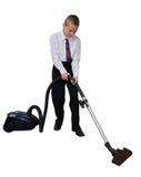 男孩清洗地板吸尘 免版税库存图片