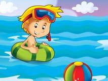 男孩游泳在水中 库存照片