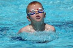 男孩游泳 免版税库存照片