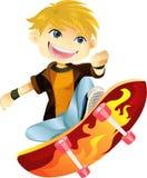 男孩溜冰板运动 免版税库存照片
