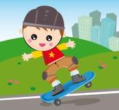 男孩滑板 免版税库存图片
