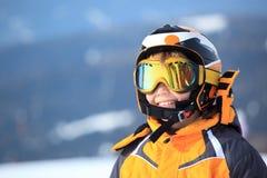 男孩滑雪者年轻人 免版税库存照片