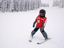 男孩滑雪 免版税库存图片