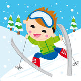 男孩滑雪 库存照片