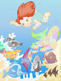 男孩潜水一点 向量例证