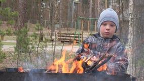 男孩烹调在火的食物在格栅 国家休息 股票视频