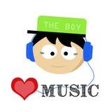 男孩爱音乐灵魂 库存照片