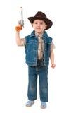 男孩牛仔帽佩带的一点 免版税库存图片