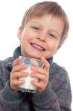 男孩牛奶 免版税库存照片