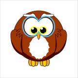 男孩猫头鹰孩子动画片的密林字符 图库摄影