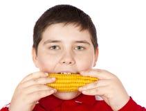 男孩玉米吃 免版税库存图片